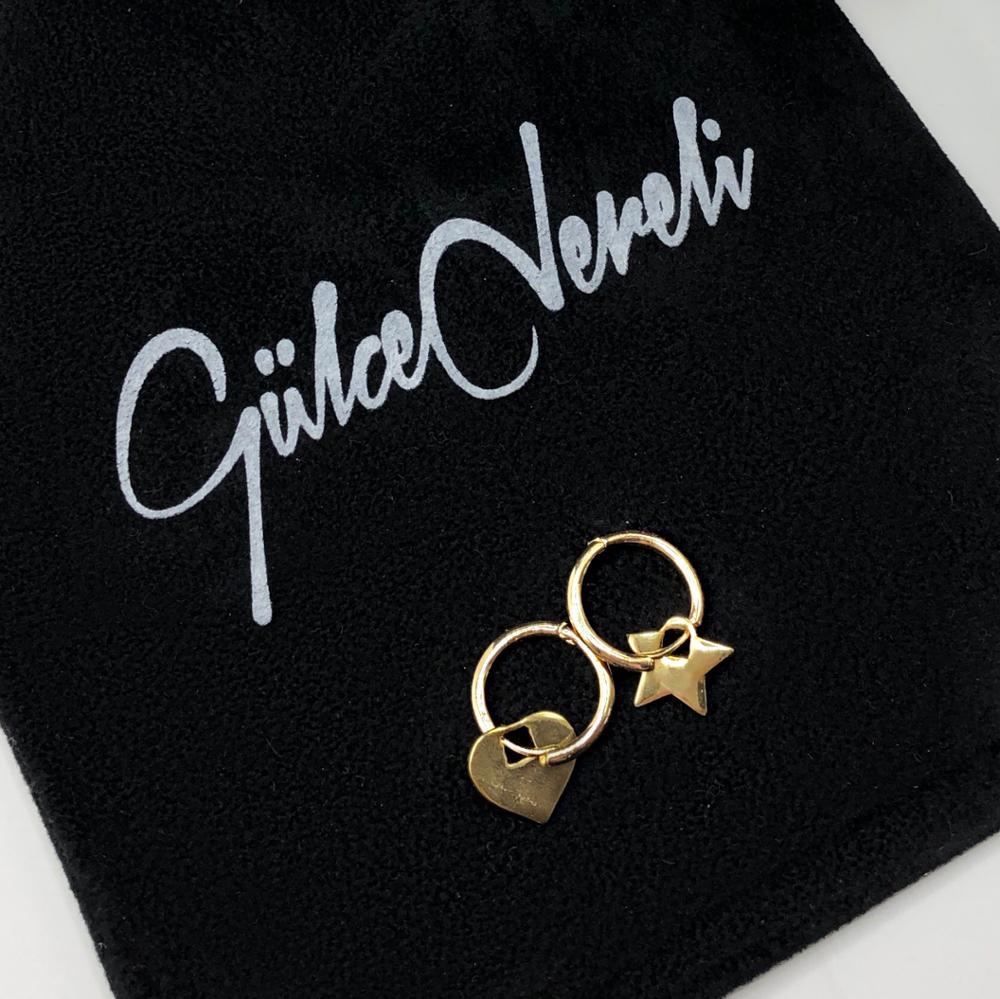 GULCE DERELI-أقراط على شكل نجمة وقلب ، أقراط دائرية ، أقراط ساحرة ، علبة هدايا ، مطلية بالذهب والفضة