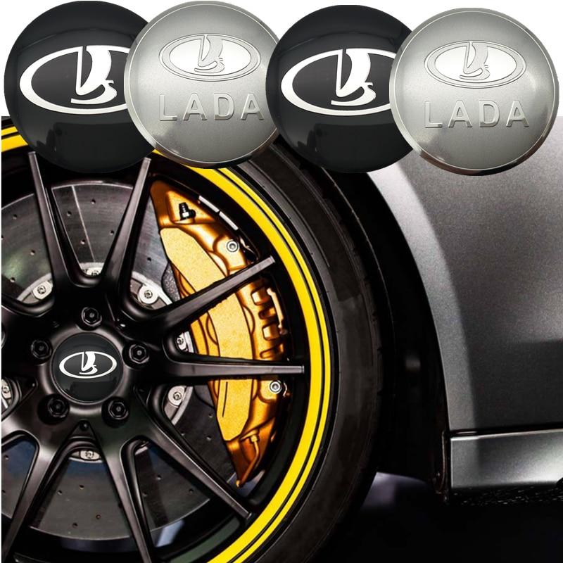 FDIK 4 pcs 56.5 milímetros Para LADA logotipo do carro emblema etiqueta do Centro de Roda Hub Aro emblema cobre Alumínio adesivo De Carro -styling acessórios