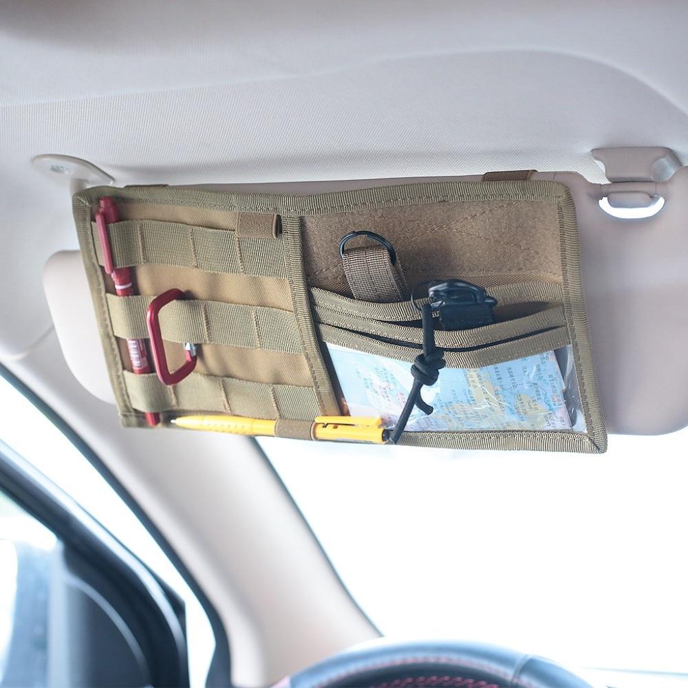 CQC טקטי MOLLE רכב Visor פנל EDC כלי פאוץ תקליטור אחסון תיק משאית רכב מגן שמש ארגונית אוטומטי ציוד אבזרים מחזיק