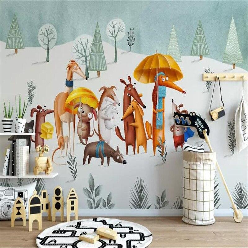 Современный минималистский мультфильм Щенок личность детская комната фон стены на заказ большие обои комнатные 3D Фотообои