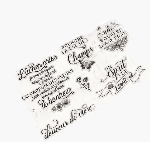 Palabras francés transparente claro sello de silicona/sello para DIY scrapbooking/álbum de fotos decorativo claro sello A0220