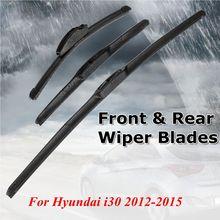 "3Pcs Car Front & Rear Windscreen Window Wiper Blades 26"" 14"" 13"" For Hyundai i30 2012 2013 2014 2015"