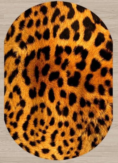 Else Yellow Brown Black Leopard Animal Fur Design 3d Print Non Slip Microfiber Living Room Modern Oval Washable Area Rug Carpet