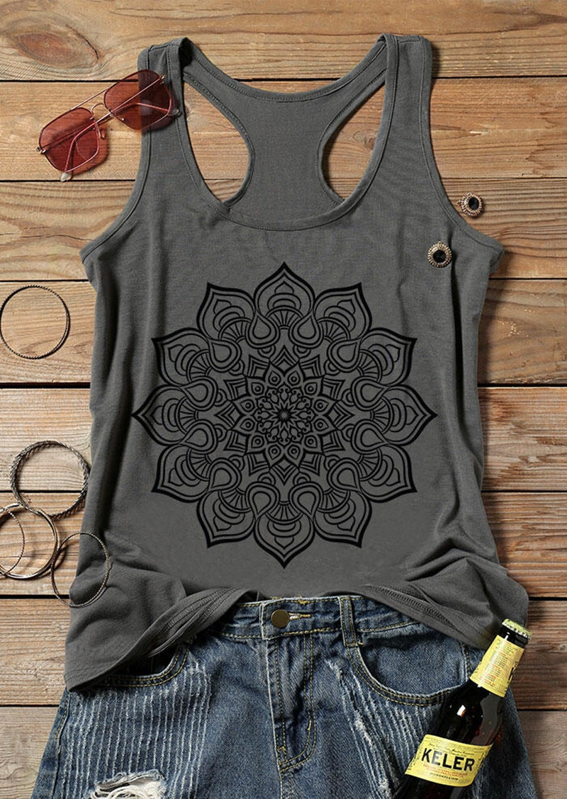 Tank Top Women 2019 Summer Sleeveless Tees Mandala Printed O-Neck Female Casual Gray Tops Lady Camis Loose Flowers Tee
