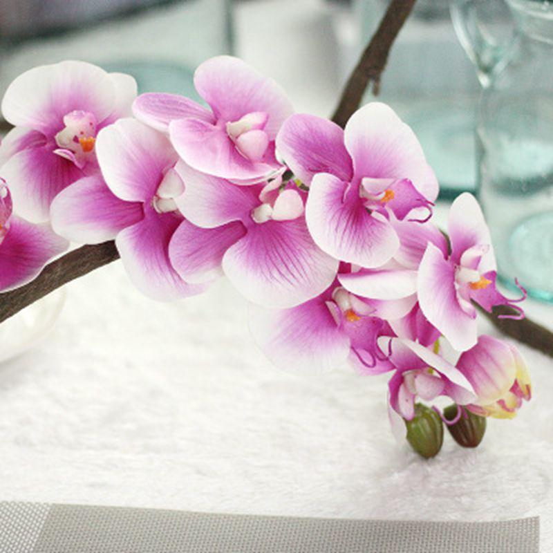1 unidad de 11 cabezas de Orquídea mariposa artificial de látex de 72cm para decoración de boda phalaenopsis flor artificial de tacto real colorida