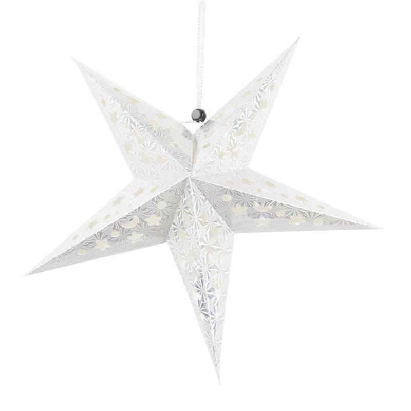30 см бумага Звезда Фонарь 3D пентаграмма абажур для рождественской вечеринки Holloween День рождения Висячие украшения для дома (серебро)