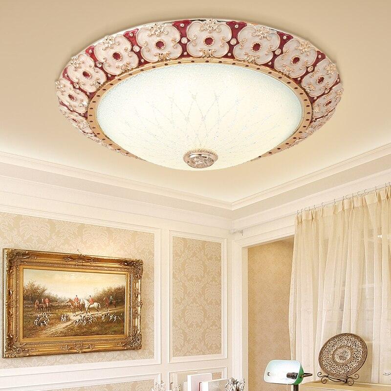 Luces de techo redondas de cristal de estilo europeo, luces de techo de cristal claro para dormitorio, Románticas y cálidas, lámpara LED moderna para AC110-240V