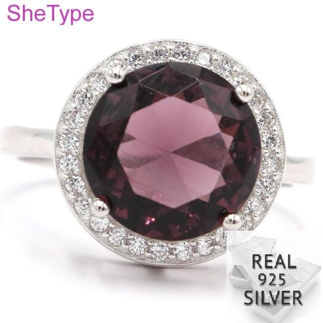 14x14mm 4,2g nuevo diseño creado amatista púrpura blanco CZ anillos de plata esterlina sólida 925