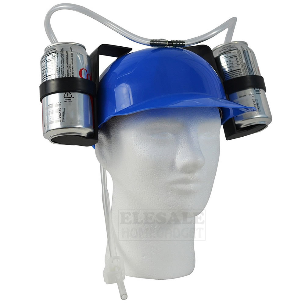 Creative Lazy Drinking Hat Beer Sada Can Dual Holder Helmet Cap With Soft Straw Bar Fun Unique Party Football Game Hats