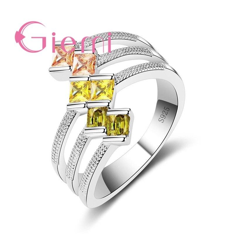 Único amarelo 925 prata esterlina anéis de cristal para amantes feminino nova personalidade quadrada jewlery requintado anillos presentes