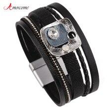 Amorcome Schwarz MultiLayer Leder Armband Für Frauen Strass Emaille Magnet Wrap Armband Charme Armbänder & Armreifen Schmuck