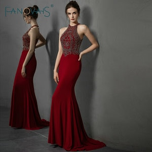 Burgundy Mermaid Evening Dresses Long Halter Beaded Prom Dress 2019 vestidos de fiesta de noche Formal Dress Party