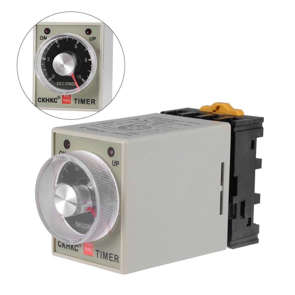 UXCELL AC 110V DC 12/24V relés 6/10S 6/30M 8 terminales de rango de retardo ajustable temporizador tiempo relé AH3-3 con fuentes de alimentación Base