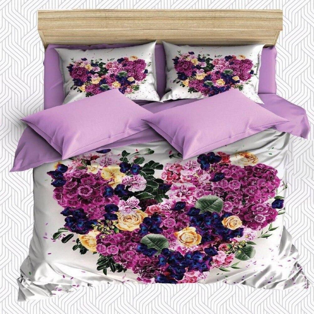 Funda de almohada y almohada de satén y algodón con estampado de rosas y corazones en 3D de color morado, amarillo y azul, funda para cama de 6 piezas