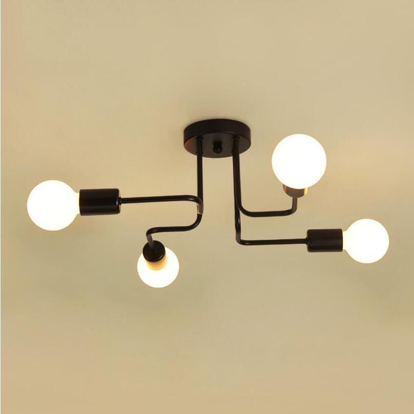 Lámpara de techo de hierro forjado para sala de estar, luces de...