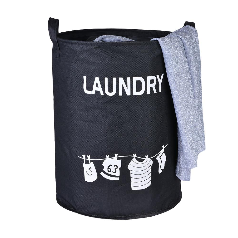 Tela Oxford negra PE sin soporte cesta de almacenamiento gruesa plegable impermeable lavar la ropa sucia cesta de juguete de lavandería 34x45cm-1