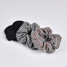 Nieuwe Arrial Vintage Black & White Controleer Paardenstaart Houder Scrunchies Ring Elastische Hair Tie voor Vrouwen & Meisje Haar Accessoires