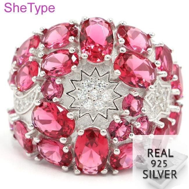Anillo de regalo para niñas con rodolita rosada de plata esterlina sólida 925 Real de 24x22mm y 9,63g de circonia cúbica