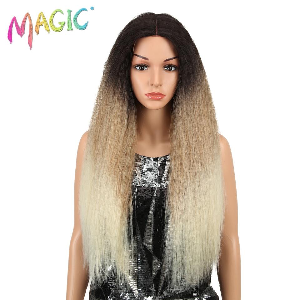 Peluca de pelo sintético mágico peluca frontal de encaje sintético largo Kaki Ombre pelo rubio 28 pulgadas peluca delantera de encaje sintético americano