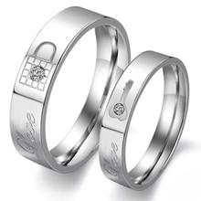 1 pièce mode strass amour anneau De verrouillage en acier titane Couple bague De mariage ses et les siens promesse anneau ensembles Anillos De Boda anneau