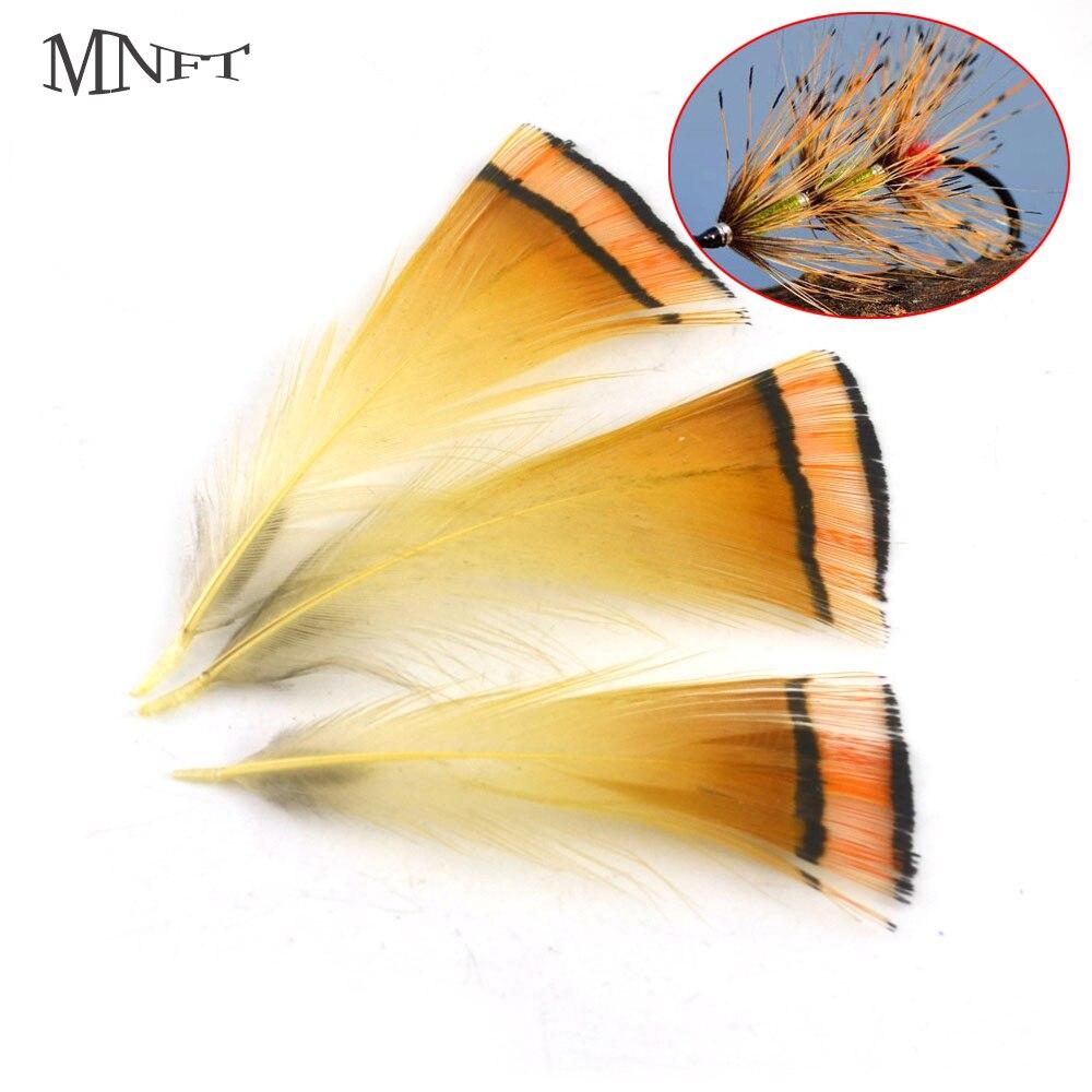 Mnft 50 pçs voar amarrando penas natural ouro faisão cabo tippet penas