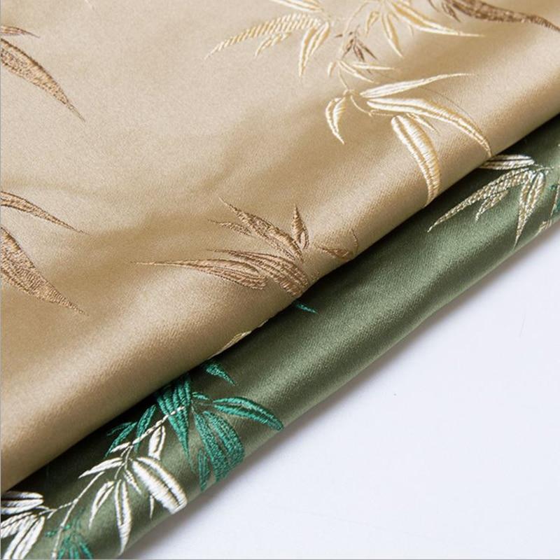 Nouveauté polyester brocart bambou feuille tissu pour patchwork feutre tissu telas robe drap de lit enfants tissu manteau 100x75cm