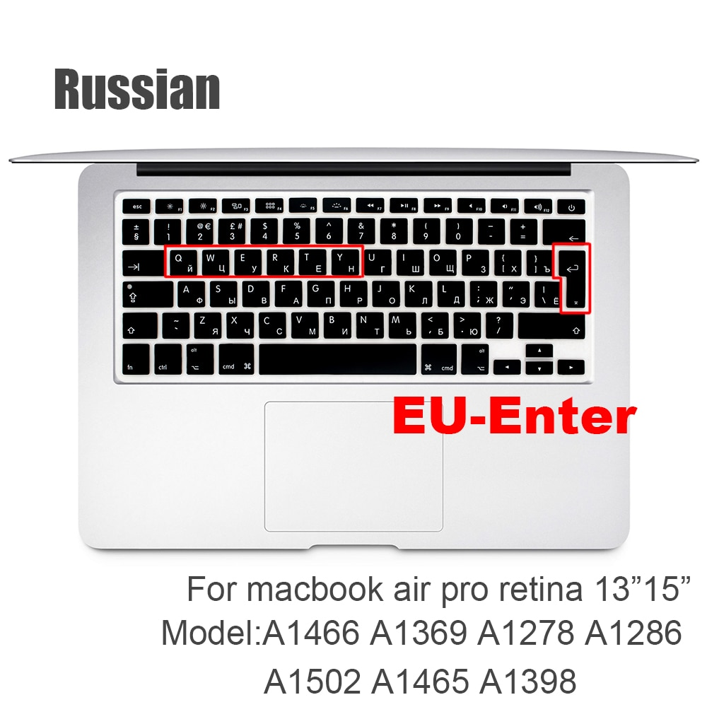 french keyboard protector for macbook retina 12 pro13 eu enter a1708 a1534 a1931 keyboard cover laptop accessories laptop film Russian EU&US-Enter  Keyboard Cover Protector for Macbook Pro 13inch 15inch Retina model A1502 A1398 Keyboard protective film