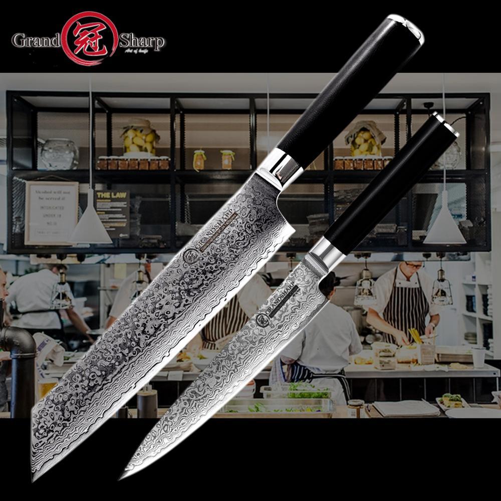 Damascus Knife Set 2 Pcs Damascus Japanese Steel Kitchen Knives vg10 Chef Utility Damascus Kitchen Knife Stainless Steel Tools