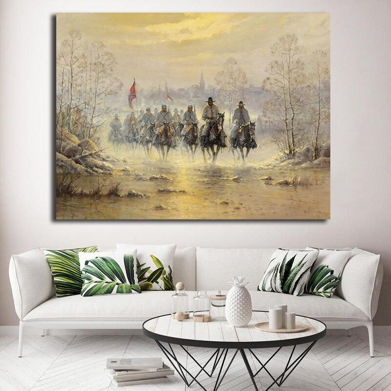 Soldado de Cavalaria Do Exército confederado Cartaz Arte Da Guerra Civil da América Pinturas Sobre Tela Decorativa Moderna Da Parede Pictures Decoração Da Sua Casa