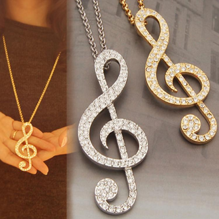 Gran oferta, 1 unidad, joyería para hombre, Diamante de imitación, colgante de nota musical, collar, suéter, cadena, collares para hombre