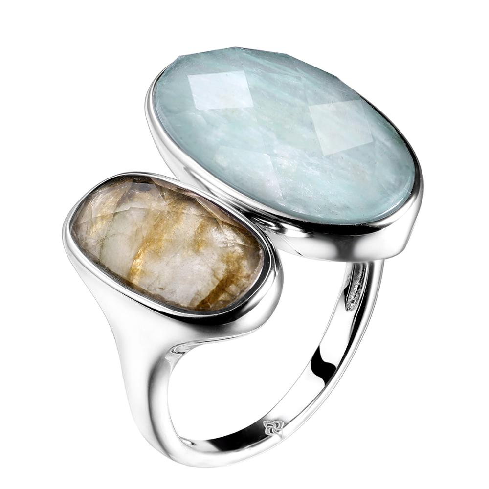 DORMITH Plata de Ley 925 auténtica anillo de piedras preciosas amazonita natural piedra labradorita anillos para las mujeres joyería rejustable anillo de tamaño