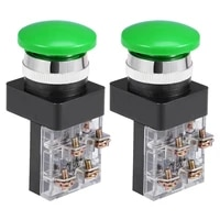 uxcell 2pcs switches 25mm mounting hole momentary push button switch for control of electromagnetic starter contactor green dpst
