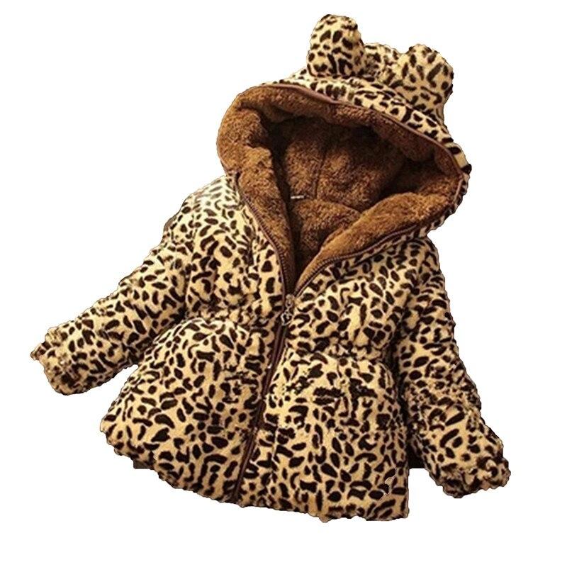 Baby kleinkind mädchen kleidung dicke warme jacke Kinder schlank outwear parka wadded mantel winter jacke leopard plus samt Mantel