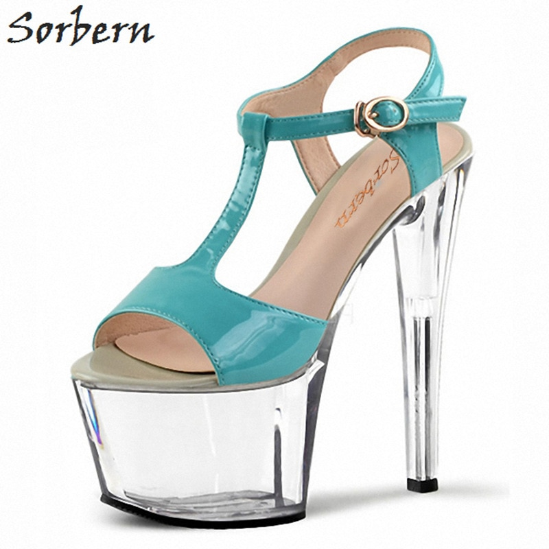 Sorbern 17Cm Blue T-Strap Women Sandals High Heel Platform Shoes Ladies Clear Heels Open Toe Party Sandals For Women Heeled