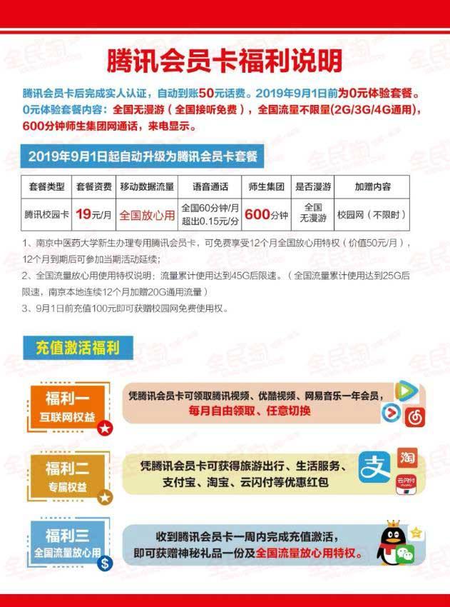 江苏联通19校园卡,25g全国流量+20g南京本地流量 600分钟省内通话