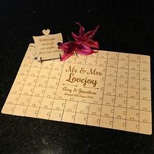 Puzzle Puzzle rustique personnalisé livres dor   Alternative à souhait des invités de mariage, décorations pour fête