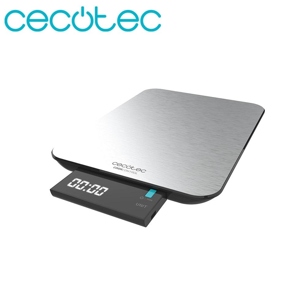 Cecotec Báscula de Cocina Digital Cook Control 9000 Waterproof Máxima Precisión Pantalla LCD Sensibles al Tacto Diseño Elegante