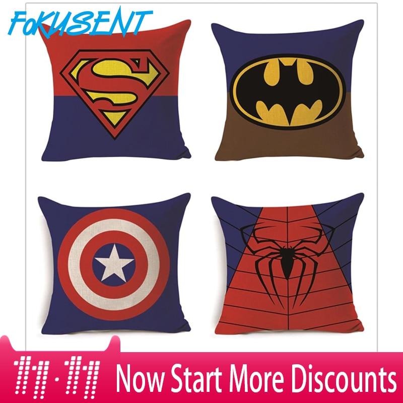 Fokusent dos desenhos animados super herói série capa de almofada superman homem aranha batman capitão quadrado fronha linho sofá do carro cadeira