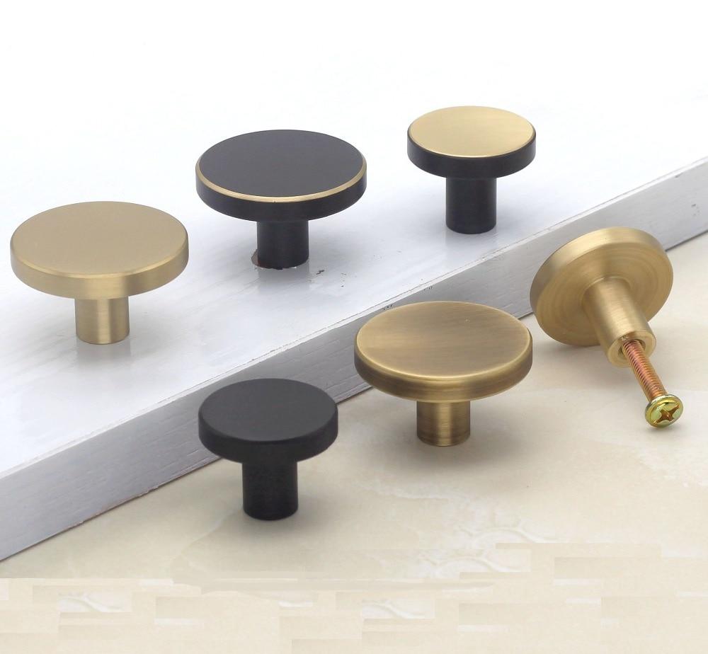 2 unids/lote Premintehdw sólido latón perilla de muebles perillas de cajón de armario alacena puerta negro bronce dorado de
