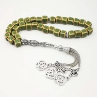 ceramic tasbih green 33 beads two style tesbih metal tassels fashion bracelets special gift rosary for muslim