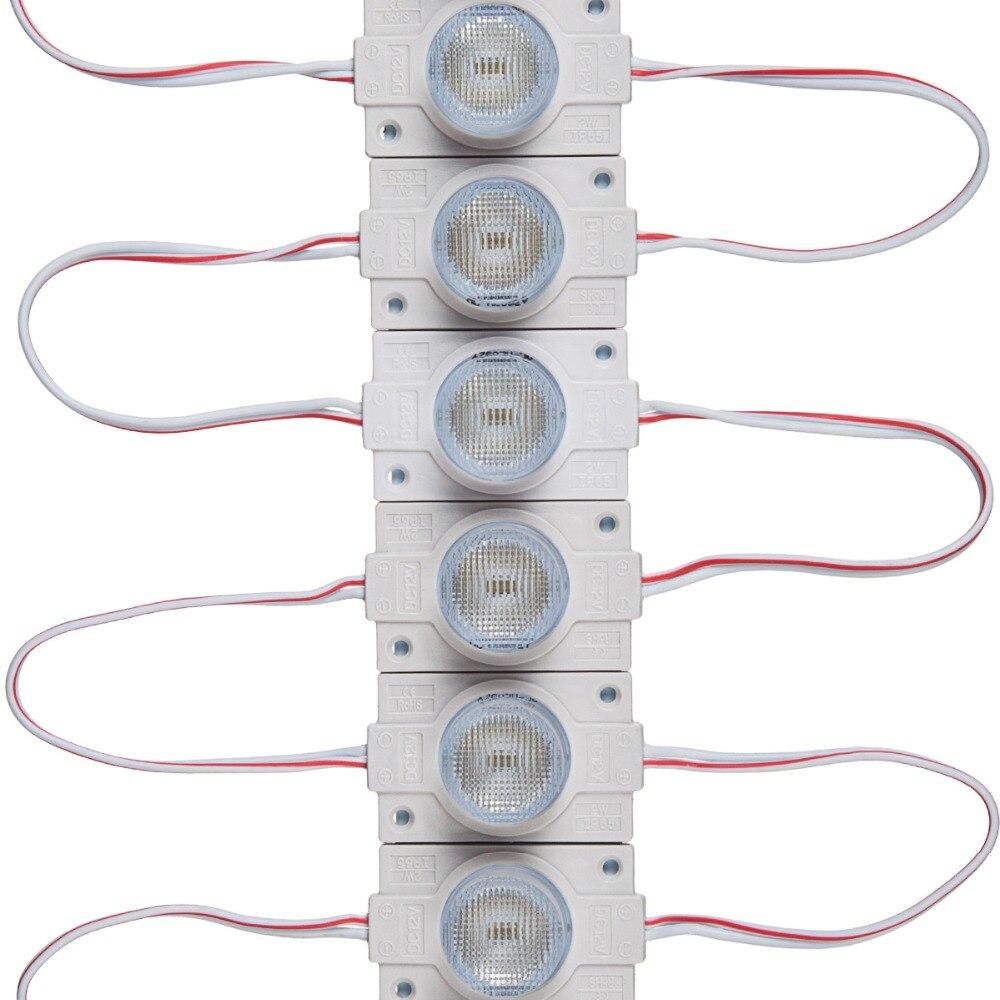 20 pçs/pçs/lote ul listado 2.0 w módulos led com lente para caixa de luz branco fresco 6500 k cri 80 dc12v 160-200lm ip65 à prova dwaterproof água com