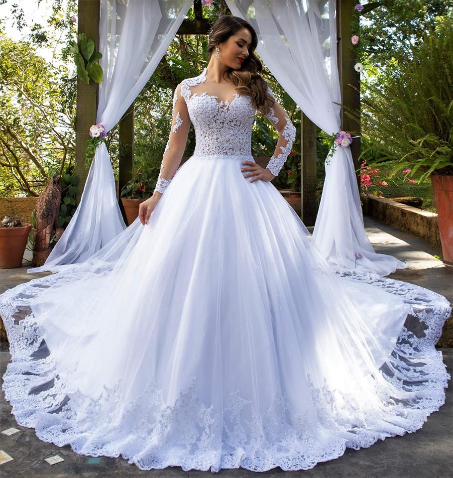 Princess Wedding Dress Long Sleeves Sheer Top Bridal Dress Wedding Gown Dresses For Bride Superbweddingdress