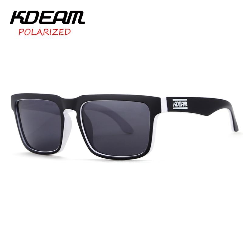 KDEAM 2017 Color Block Men Sport Sunglasses Square Frame Sun Glasses Polarized Outdoor eyewear UV400 With Hard Case KD901P-C19