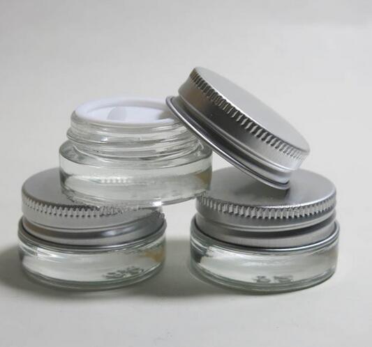 جرة كريمة زجاجية 5 جرام ، 400 قطعة ، عالية الجودة ، بغطاء ألومنيوم ، حاوية مستحضرات تجميل بفتحة واسعة 5 مللي ، عبوة مستحضرات تجميل لكريم العين #41