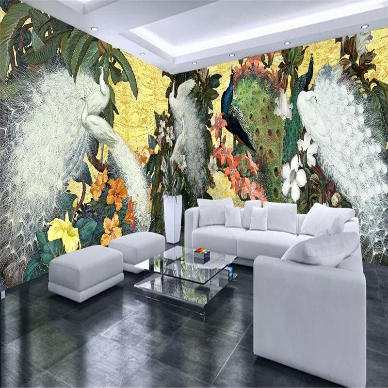 Pavo Real TV Europea sofá casa completa Fondo pared producción profesional mural papel pintado al por mayor póster personalizado Pared de fotos