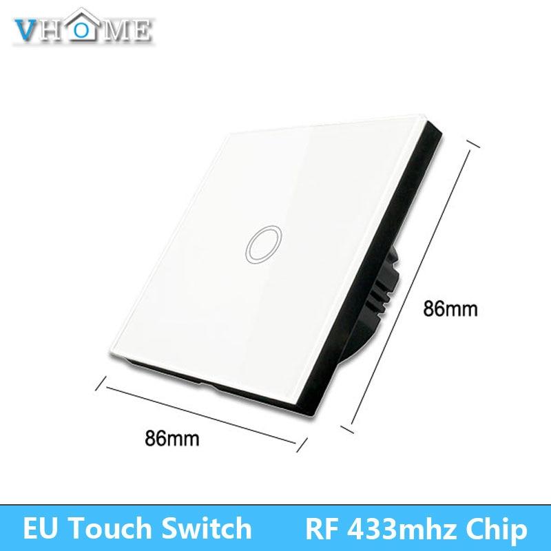 Interruptor de luz táctil Vhome, Panel de Interruptor táctil inteligente EV1527 433 mhz, Control Wifi estándar UE/UK 220V por aplicación Broadlink