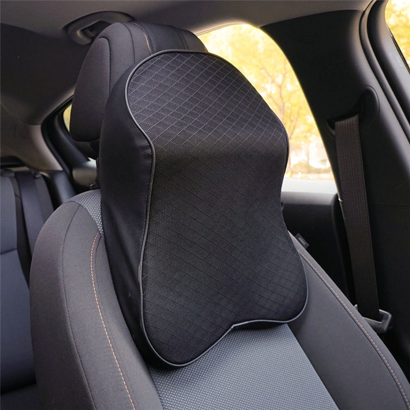 Almohada de cuello para coche suave 3D espuma de memoria reposacabezas almohadas PU cuero viaje almohada asiento de auto y oficina cojín para masaje de apoyo de cabeza