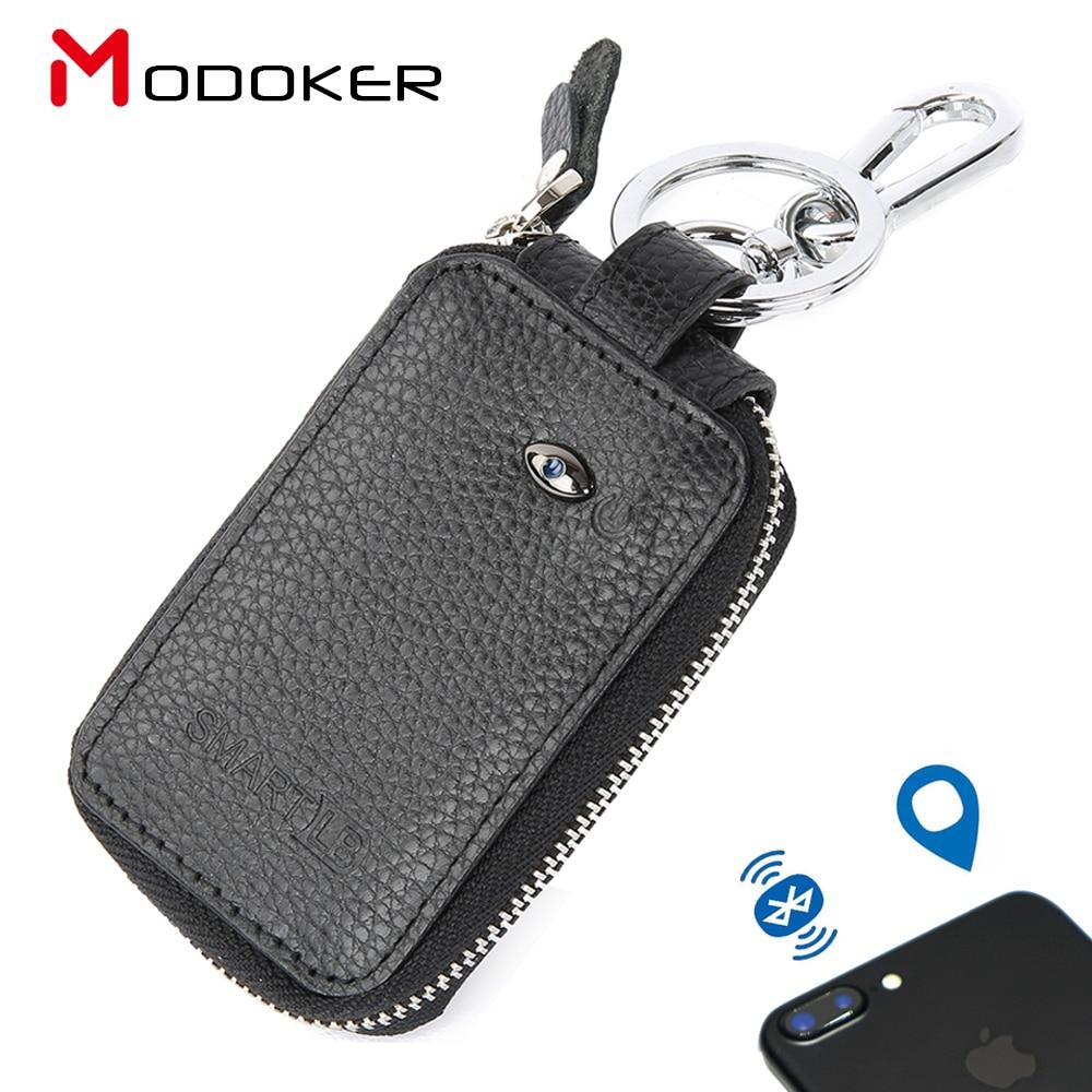 Cartera de cuero genuino Modoker para hombre con localizador GPS, llavero de coche con buscador Bluetooth, negro
