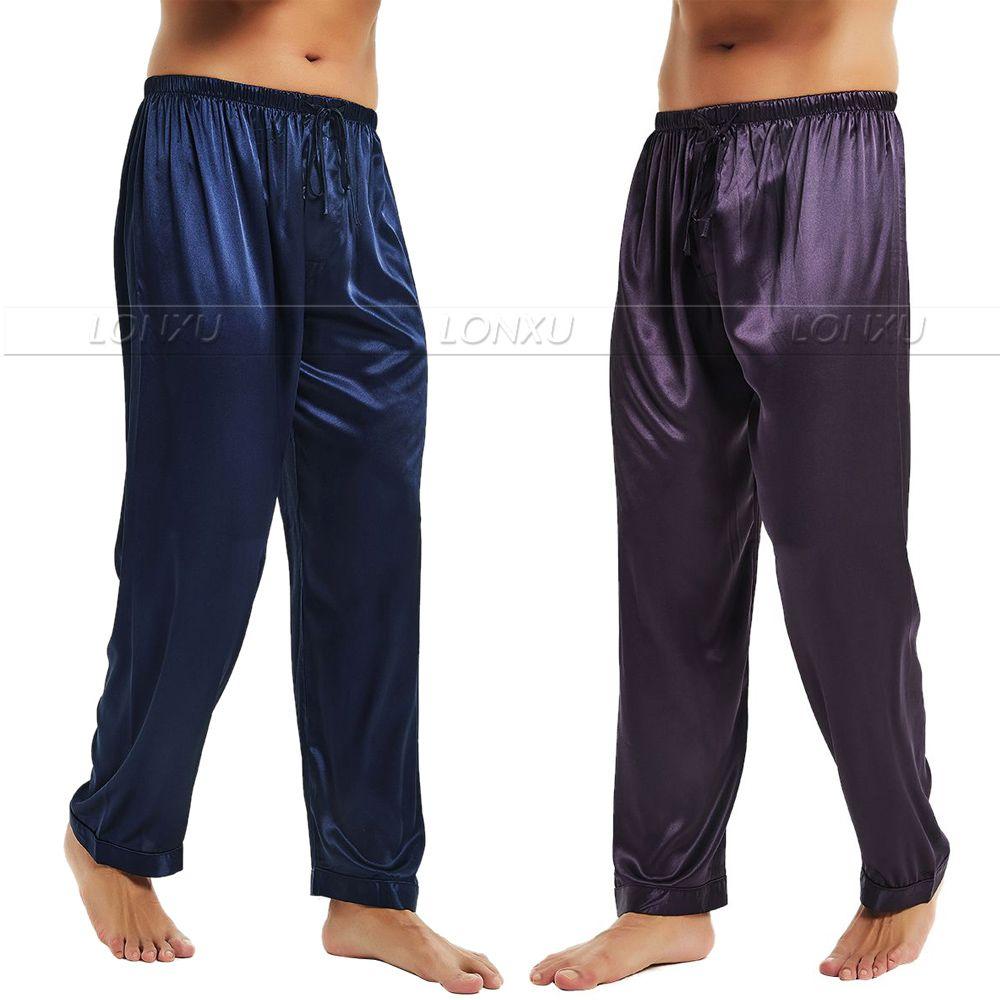 Mens Silk Satin Pajamas Pyjamas Pants Lounge Pants Sleep Bottoms Free Shipping S M L XL 2XL 3XL 4XL