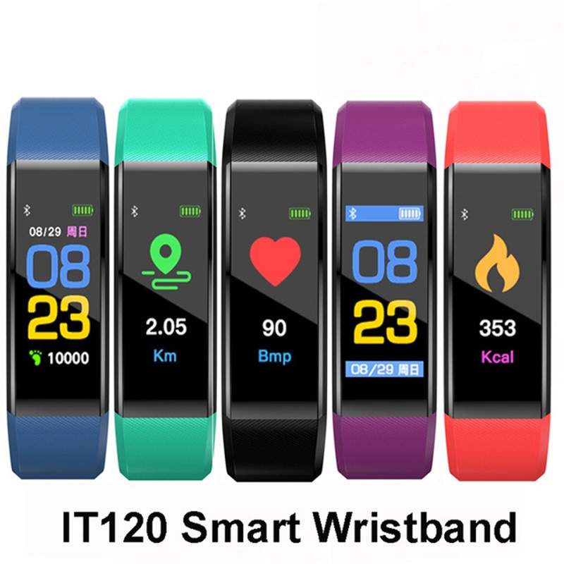 Bluetooth ID115 PLUS podómetro pulsera ritmo cardíaco corriendo paso calorías rastreador LCD pulsera podómetro